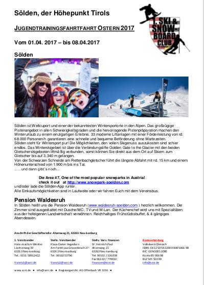 Reiseausschreibung Jugend-Trainingsfahrt 2017