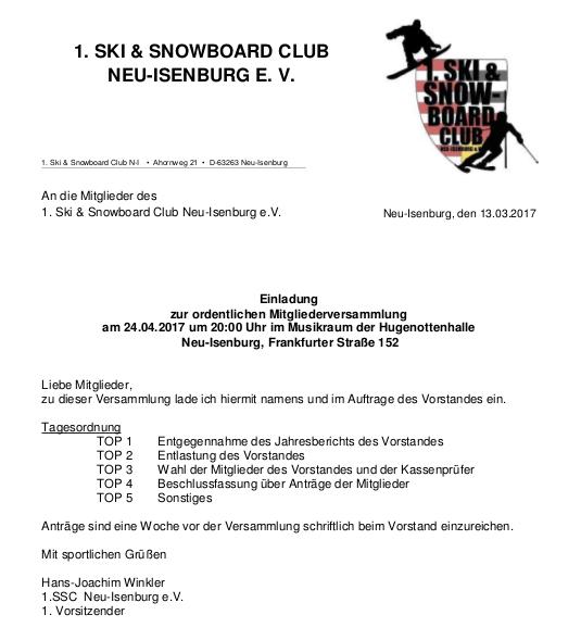 mitgliederversammlung – 1. ski & snowboard club neu-isenburg e. v., Einladung