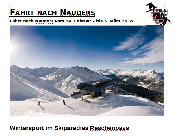 Reiseausschreibung der Nauders-Trainingsfahrt 2018