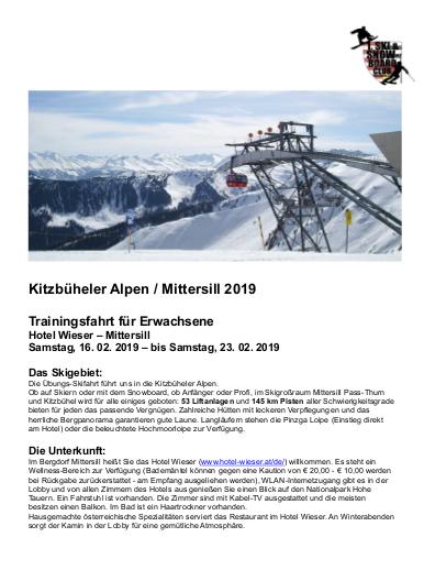 Reiseausschreibung 2019-Mittersill Februarfahrt