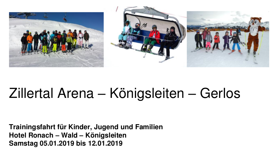 Reiseausschreibung der Familien-Trainingsfahrt 2019 ins Zillertal