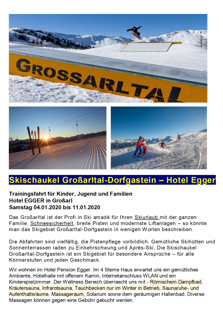 Reiseausschreibung der Familien-Trainingsfahrt 2020 nach Großarl