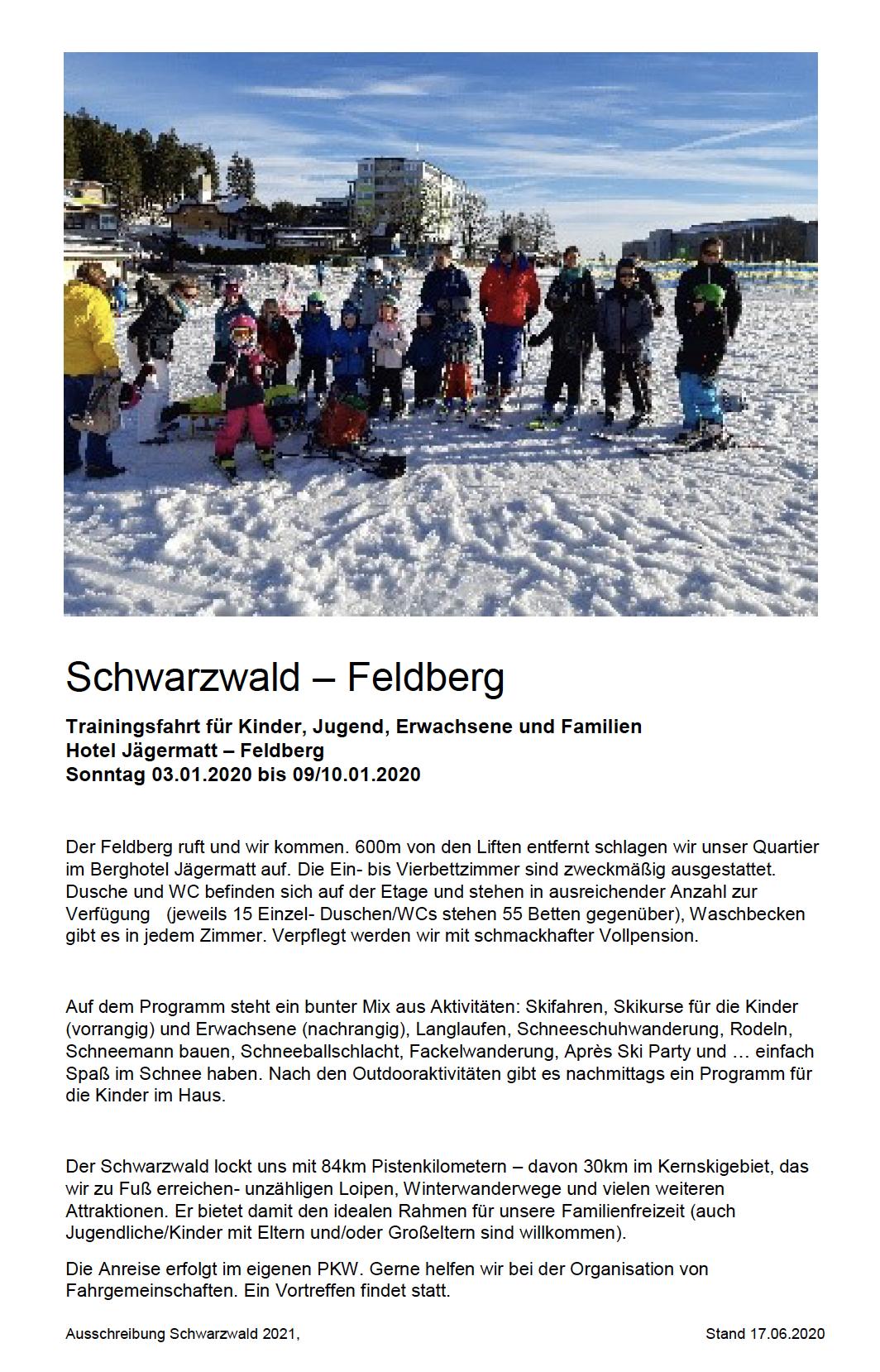 Reiseausschreibung 2021 Schwarzwald-Fahrt