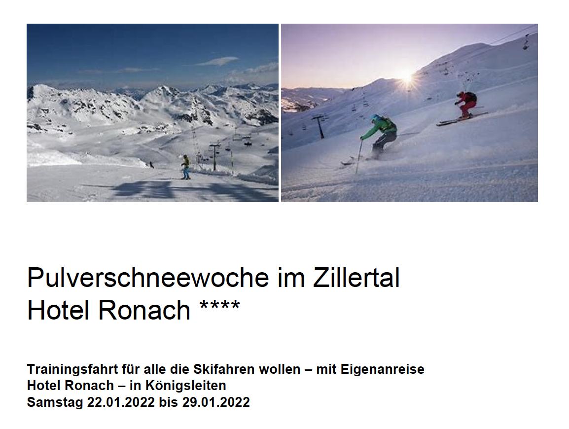 Reiseausschreibung der Pulverschnee-Trainingsfahrt 2022